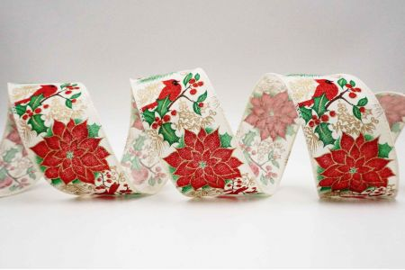 Cardinal & Poinsettia Ribbon - Cardinal & Poinsettia ribbon