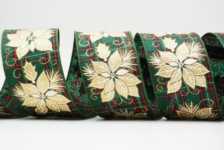 Golden Poinsettia on Red Green Plaid Ribbon - Golden Poinsettia on Red Green Plaid Ribbon