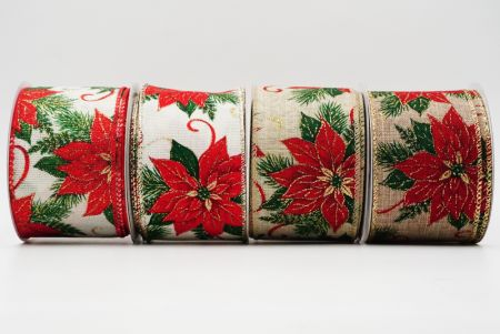 Red Poinsettia Ribbon - Christmas Red Poinsettia Ribbon