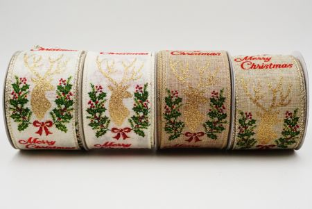 Christmas Ribbon with Deer - Christmas Ribbon with Deer