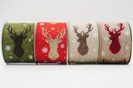 Glitter Reindeer and Deer Head Ribbon - Glitter Reindeer and Deer Head Ribbon