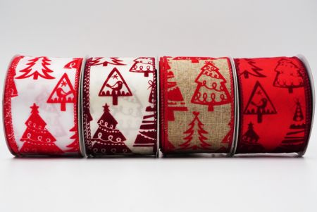 Geometric Christmas Trees Ribbon - Geometric Christmas Trees Ribbon