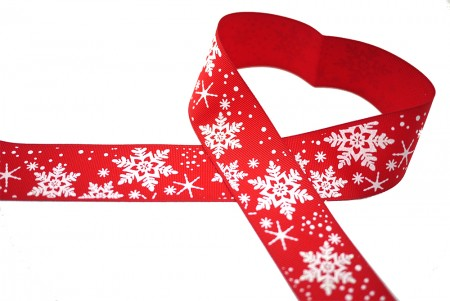 Snowflakes Grosgrain Ribbon - Snowflakes Grosgrain Ribbon