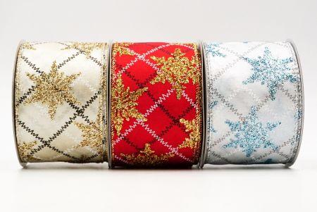 Nastro metallico a quadri con fiocchi di neve glitterati - Nastro metallico a quadri con fiocchi di neve glitterati
