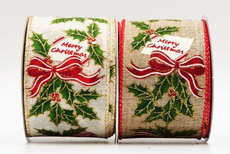 Christmas Words Holly Wired Ribbon - Christmas Words Holly Wired Ribbon