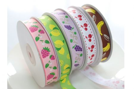 Fruit Prints Grosgrain Ribbon - Fruit Prints Grosgrain Ribbon