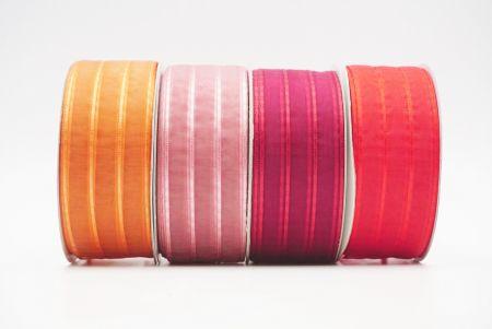 Glitter Stripes Sheer Ribbon - Metallic Stripe Sheer Ribbon