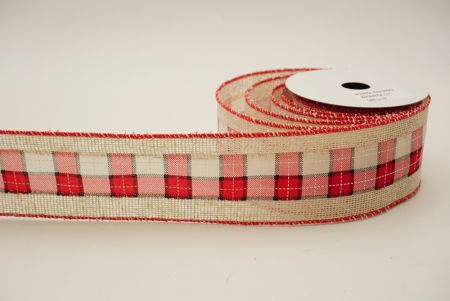 white/red/black check ribbon with red matte edge ribbon