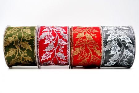 Cinta de hojas de acebo escalonadas - Cinta alambrada con hojas de acebo escalonadas