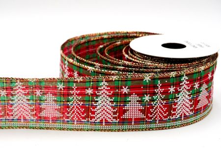 Plaid knit design ribbon