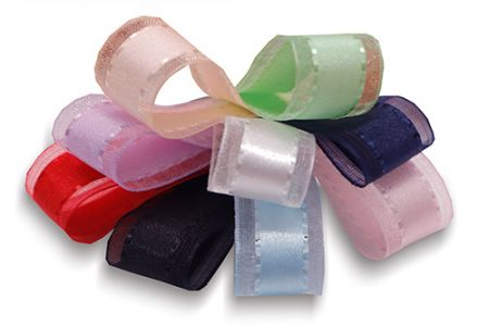 Narrow Satin Center Sheer Ribbon - Narrow Satin Center Sheer Ribbon