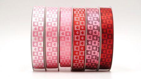 Wstążka w kratę tkaną - Tkana Plaid Heart Valentine ze sztucznym płótnem i satynową tkaniną