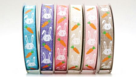 Carrot & Rabbits  Ribbon - Adore Rabbits with its carrots
