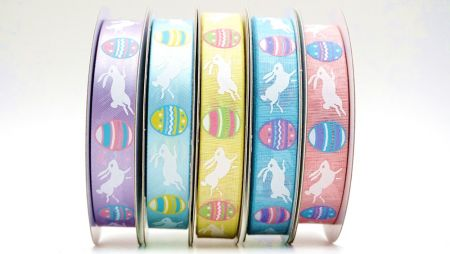 Colors Fancy Easter Ribbon - Jumping Rabbits in Easter season