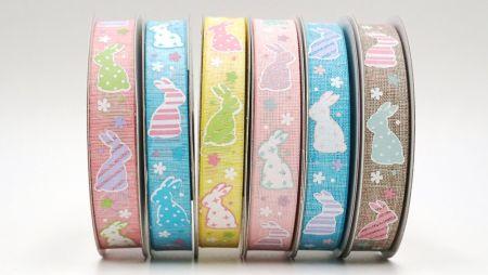 Fita de Páscoa Fancy Ribbon - Ovo de páscoa de coelho colorido