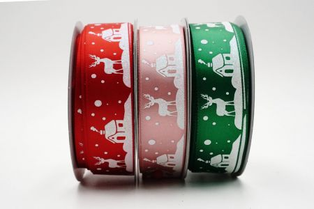 Reindeer & Santa's Home Ribbon on single face satin