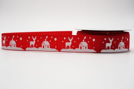 Reindeer & Santa's Home Ribbon-red