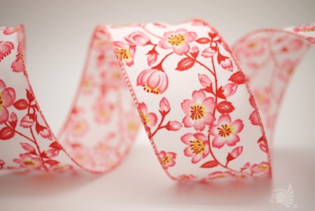 Plum Blossom Fabric Ribbon - Plum Blossom Fabric Ribbon