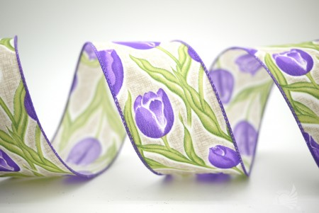Tulips Print Satin Ribbon - Tulips Print Satin Ribbon