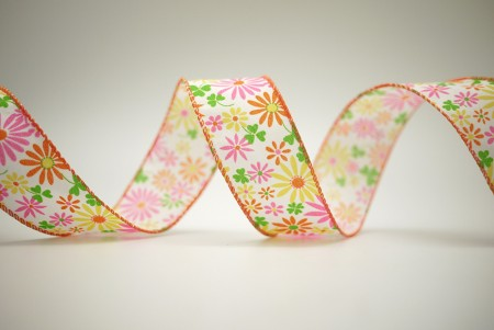 Colorful Daisies Print Ribbon - Colorful Daisies Print Ribbon