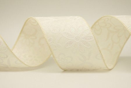 White Flowers Faux Burlap Ribbon - White Flowers Faux Burlap Ribbon