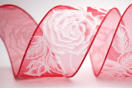Sparkling Silver Roses Organza Ribbon - Sparkling Silver Roses Organza Ribbon