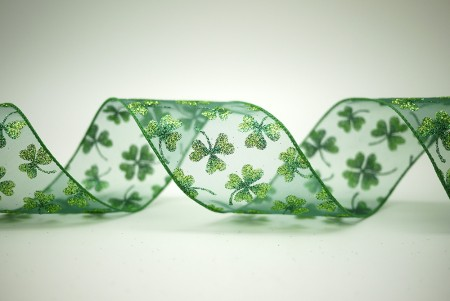 St. Patrick's Day Clover Organza Ribbon - St. Patrick's Day Clover Organza Ribbon