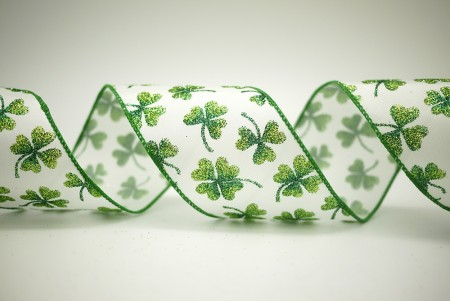 St. Patrick's Day Clover Satin Ribbon - St. Patrick's Day Clover Satin Ribbon