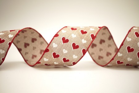Red & White Hearts Ribbon - Red & White Hearts Ribbon