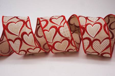 Glitter Red Hearts Ribbon - Glitter Red Hearts Ribbon