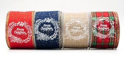 Manus Wreath design Ribbon - Manu-scripto Merry Christmas corona Ribbon