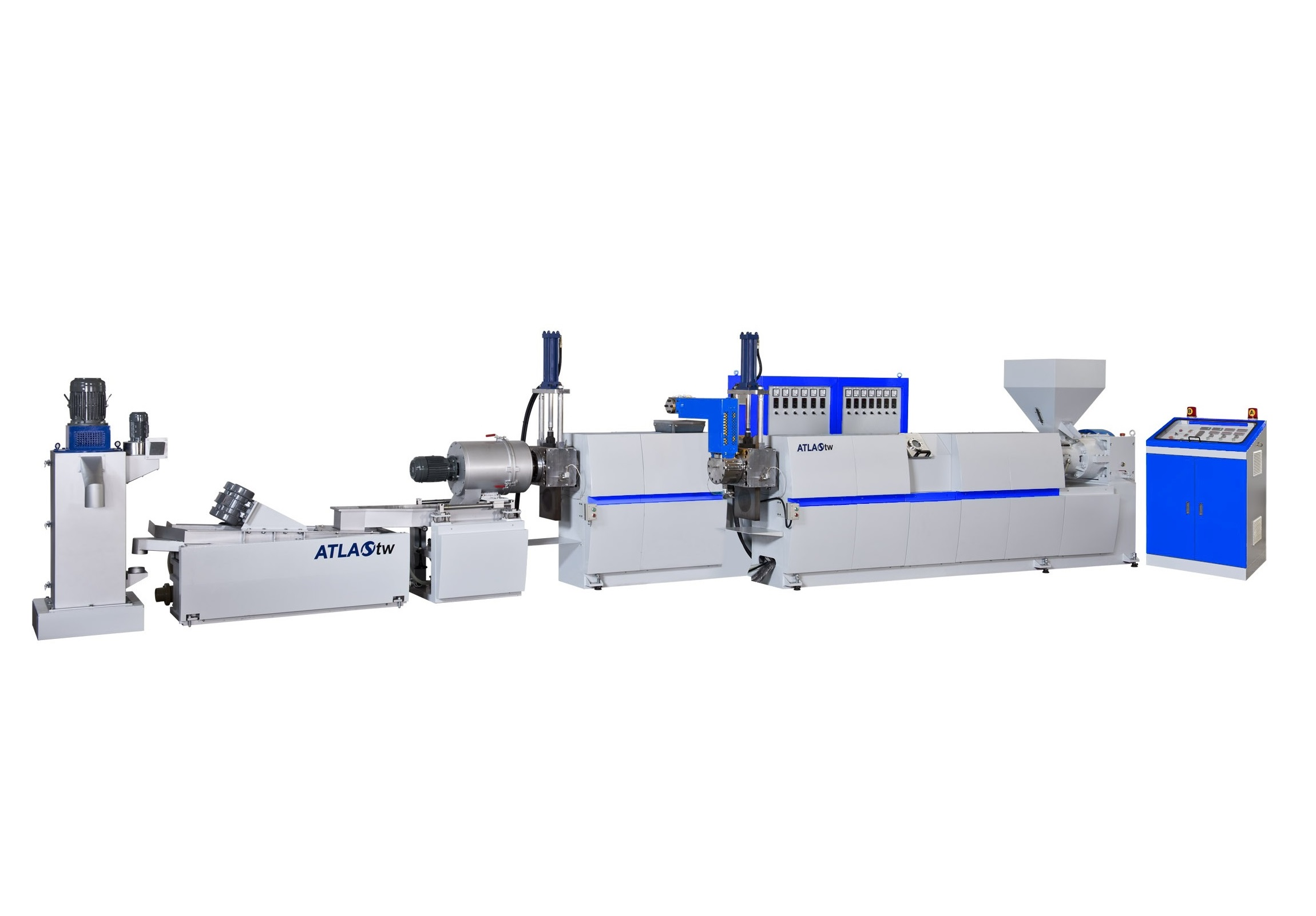 Dua Tahap Hopper Feeding & Die Face Cutting Plastic Recycling & Pelletizing Machine dirancang dan dibuat terutama untuk mendaur ulang plastik dan bahan injeksi yang dihancurkan. Dilengkapi dengan dua ekstruder, model dua tahap lebih mampu menyaring kotoran dan tinta cetak berat dari bahan.