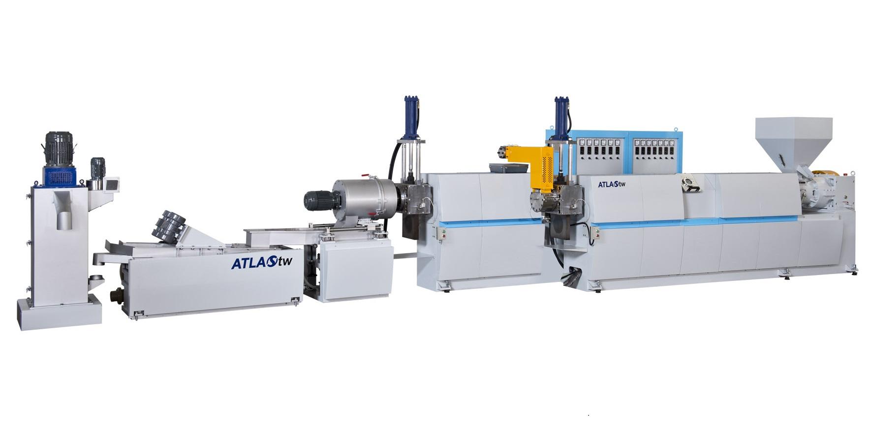 TWP-100 2단 호퍼 공급 및 다이 페이스 커팅 플라스틱 재활용 및 펠렛화 기계