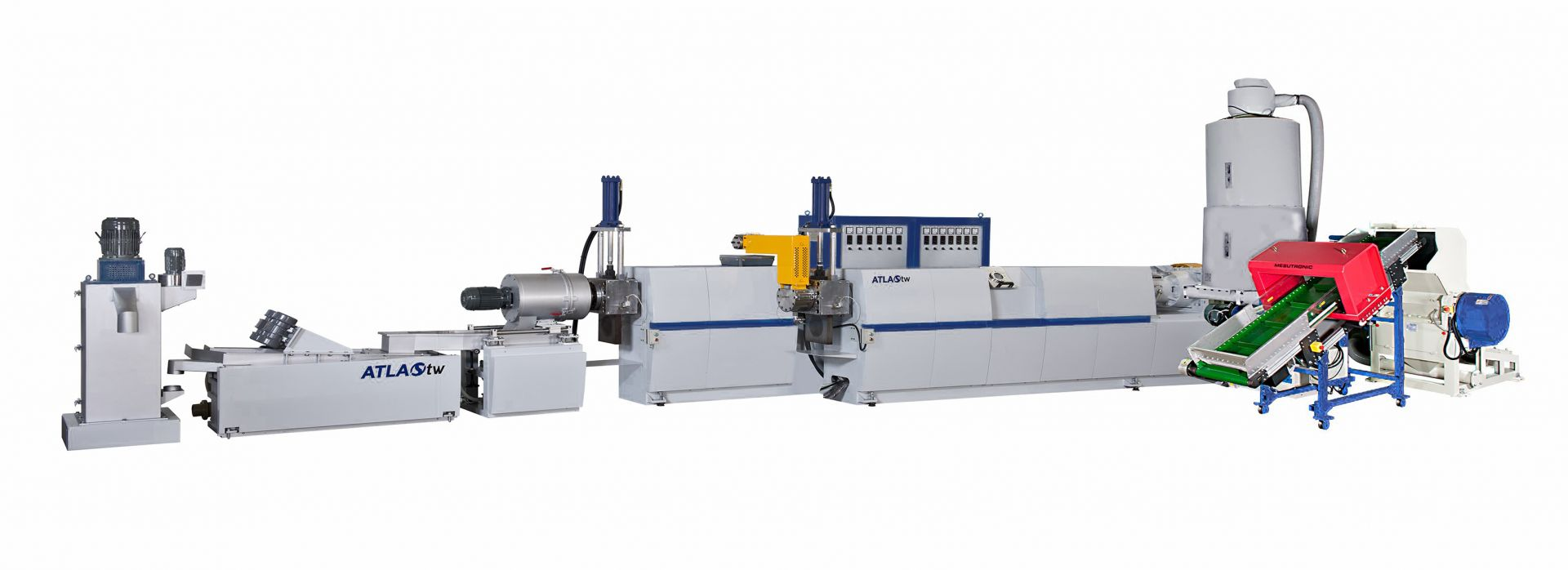 Two Stage Side Feeding Type Plastic Recycling Machine Die Face Cutting