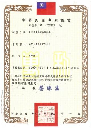 TW Patent: No# 252025