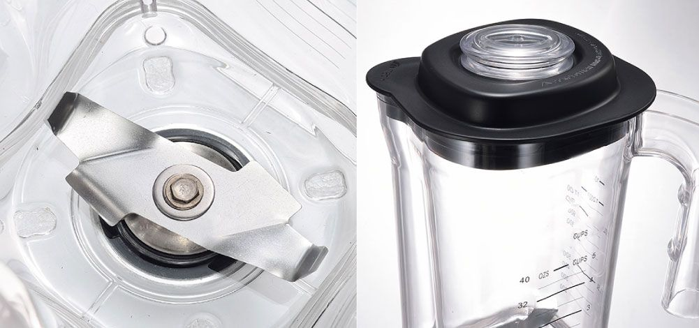 The blade is made of carbon steel so that the ice cubes and fruits can be easily crushed and mixed. Also, due to the special design jar, the drinks can be poured out much easier without dirty your hands.