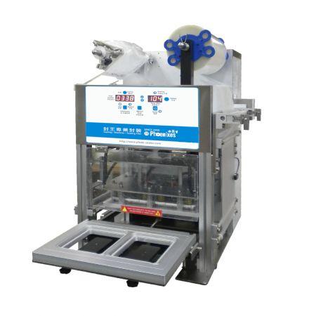 Máquina automática de sellado de bandejas (compresor de aire) - Máquina selladora-selladora de bandejas con compresor de aire