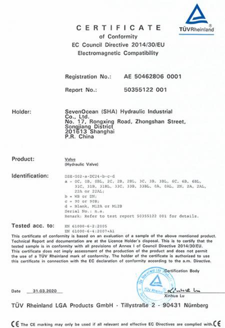 A Seven Ocean Hydraulics obteve a certificação CE em Válvula de Controle Direcional Solenóide de Baixa Potência.