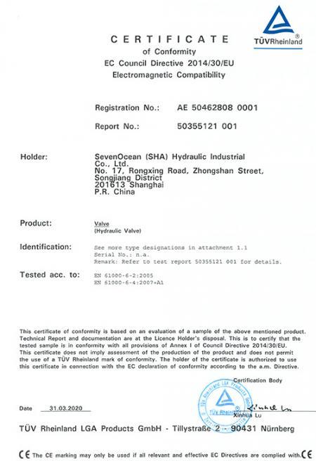 A Seven Ocean Hydraulics obteve a certificação CE em Válvula de Controle Direcional Solenóide.