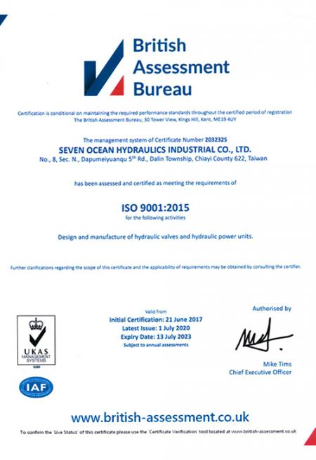 A Seven Ocean Hydraulics recebeu recentemente uma certificação ISO atualizada. Ele certifica que nosso sistema de gestão, processo de fabricação, serviço e documentação atendem a todos os requisitos de padronização e garantia de qualidade ISO.