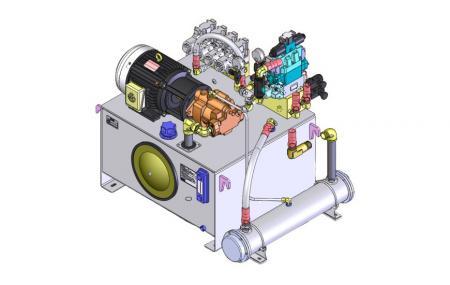Přizpůsobená HPU - 2D ukázkový výkres hydraulické pohonné jednotky.