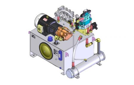 Dostosowane HPU - Przykładowy rysunek 2D zasilacza hydraulicznego.