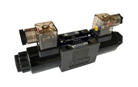 4/3 i 4/2 D03 / NG6 / CETOP3 Elektromagnetyczny kierunkowy zawór sterujący - DSD-G02 Sterowany elektromagnetycznie kierunkowy zawór sterujący, złącze typu DIN.