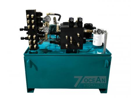 Hydraulic Power Unit Sample, this particular HPU is designed for a Single Facer Corrugation Machine.