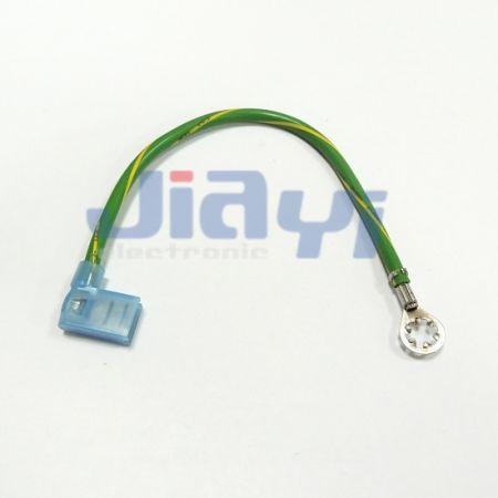 Wire Harness with Toothed Lock Ring Tongue Terminal