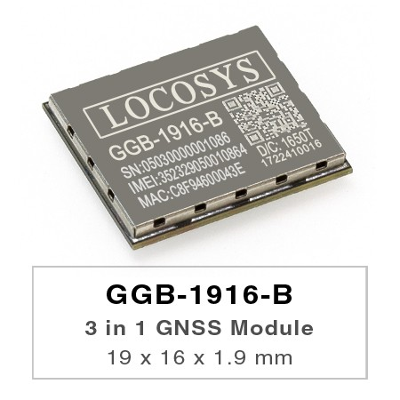 3 in 1 GNSS Module - GGB-1916-B module is a versatile module that integrates GNSS, 2.5G GSM/GPRS and classic Bluetooth in a miniature QFN (Quad Flat No leads) form factor.