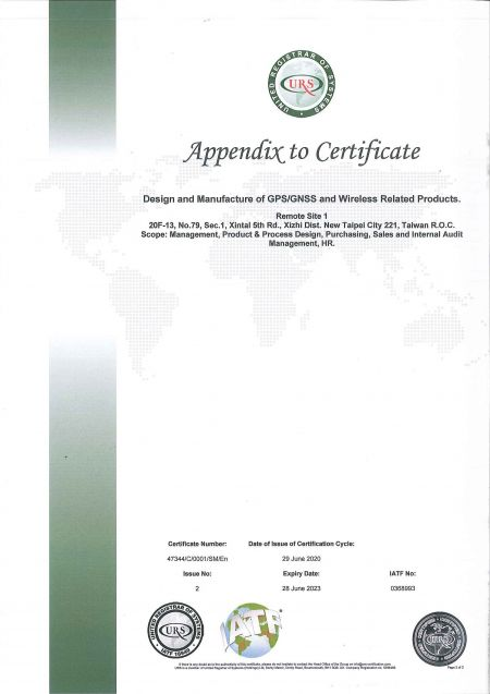 Appendix to certificate