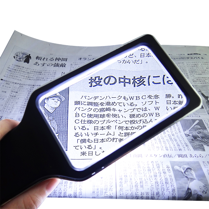 Handheld magnifier with LED Light for reading