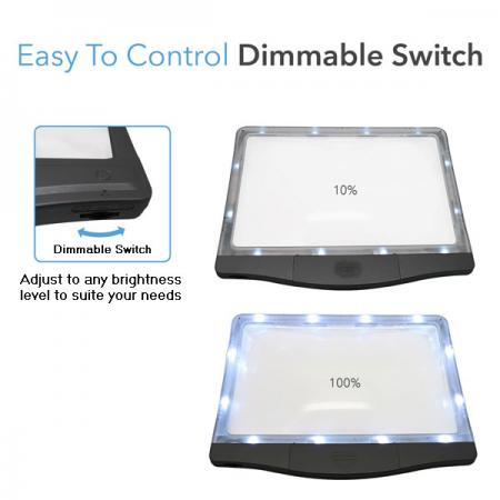 3X LED Page Reader Magnifier with 12 Dimmable Anti-Glare LED Lights-Easy to control dimmable switch