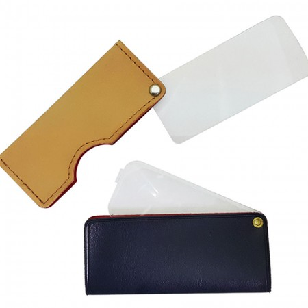 3X Rectangular Leather Folding Pocket Magnifying Glass - 3X Leather Rectangle Pocket magnifying glass